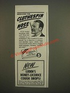 1944 Luden's Menthol Cough Drops Ad - Medicated for clothespin nose