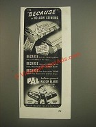 1944 Pal Hollow-Ground Razor Blades Ad - The because of hollow grinding