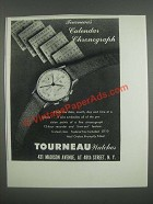 1946 Tourneau Calendar Chronograph Watch Ad