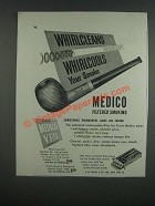1947 Frank Medico V.F.Q. Pipe Ad - Whirlcleans Whirlcools your smoke
