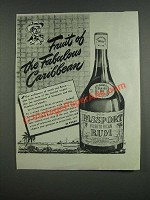 1947 Canada Dry Passport Rum Ad - Fruit of the fabulous Caribbean