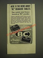 1947 BC Headache Powder Ad - Here is the news about BC headache tablets