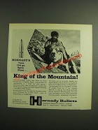 1970 Hornady 7mm 154 gr. Spire Point Bullet Ad - King of Mountain