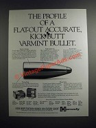 1995 Hornady Varmint Bullets Ad - The Profile of Flat-Out Accurate, Kick-Butt