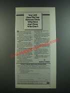 1986 World Vision Childcare Sponsorship Ad - You Can Close the Gap