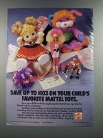 1986 Mattel Toys Ad - He-Man, Barbie, Popples, My Child