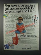 1986 Dr. Seuss and His Friends Books Ad - Appetite for Green Eggs and Ham