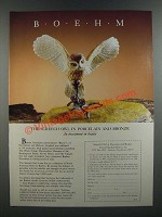 1986 Boehm Ad - Screech Owl in Porcelain and Bronze