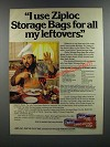 1986 Ziploc Freezer Bags Ad - Dom Deluise's Marinated Vegetable Salad recipe