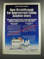 1986 Bausch & Lomb Saline Solution Ad - New Breakthrough