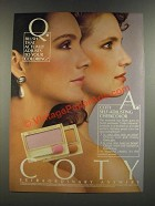 1986 Coty Self-Adjusting Cheekcolor Ad - Blush That Actually Adjusts
