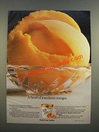 1986 Dole Fruit Sorbet Ad - A Bowl of Mandarin Oranges