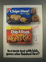 1986 Sunshine Chip-a-Roos Choclate Chip Cookies Ad - In a Taste Test