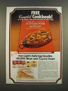 1986 Campbell's Soup, Kraft Velveeta Cheese and Light 'n Fluffy Egg Noodles Ad