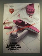 1986 El Greco Candie's Shoes and Hair Care Appliances Ad - Never Get Enough