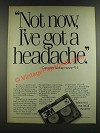 1986 3M Data Cartridge Ad - Not Now, I've Got a Headache
