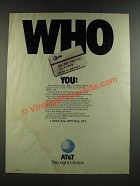 1986 AT&T Card Ad - Who You
