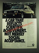 1986 BMW 528e Car Ad - Reflects Scientific Achievement