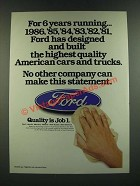 1986 Ford Motor Company Ad - For 6 Years Running