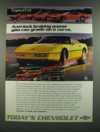 1986 Chevrolet Corvette Ad - Anti-Lock Braking Power You Can Grade on a Curve
