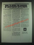 1986 GM General Motors Ad - How to Avoid the Dangers of Counterfeit Auto Parts