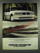 1986 Pontiac Grand Am SE Ad - Exceeds the Minimum Daily Adult Requirement