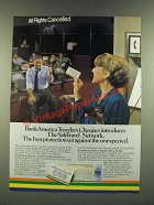 1986 BankAmerica Travelers Cheques Ad - The SafeTravel Network