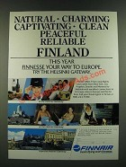 1986 Finnair Airline Ad - Natural Charming Captivating