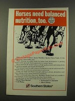 1986 Southern States Medallion Quality Horse Feeds Ad - Balanced Nutrition