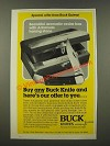 1986 Buck Knives 110 Knife and Cedar Box Ad