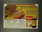 1986 Carnation Nonfat Dry Milk & Grandma's Molasses Ad - Nature Bread recipe