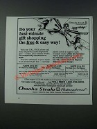 1986 Omaha Steaks Ad - Do Your Last-Minute Gift Shopping