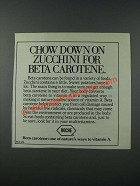 1986 Roche Beta Carotene Ad - Chow Down on Zucchini