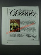 1986 The Hay-Adams Hotel Ad - Chronicles No. 1