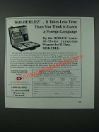 1986 Berlitz Learn-at-home Language Program Ad