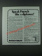 1986 Audio-Forum Basic French Ad - Speak French Like a Diplomat