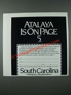 1986 South Carolina Tourism Ad - Atalaya
