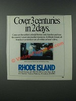 1986 Rhode Island Tourism Ad - Cover 3 Centuries in 2 Days