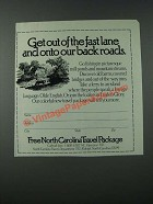 1986 North Carolina Tourism Ad - Get Out Of The Fast Lane