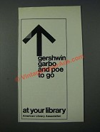 1986 American Library Association Ad - Gershwin Garbo and Poe To Go