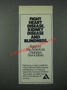 1986 American Diabetes Association Ad - Fight Heart Disease