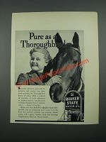 1938 Quaker State Motor Oil Ad - Pure as a Thoroughbred