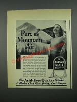 1938 Quaker State Motor Oil Ad - Pure as Mountain Air