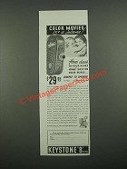 1938 Keystone 8mm Movie Camera Ad - Color Movies 15¢ a Scene