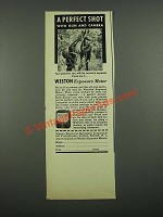 1938 Weston Exposure Meter Ad - A Perfect Shot with Gun and Camera
