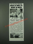 1938 Du Pont Sponge Ad - Holds 20 Times Its Weight in Water