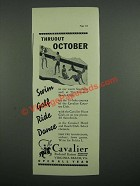 1937 The Cavalier Hotel Ad - Thruout October