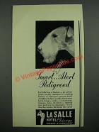 1937 La Salle Hotel Chicago Ad - Smart Alert Pedigreed