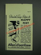 1937 Allen's Foot-Ease Ad - Quick, Easy Steps to Happy Feet