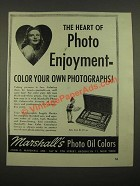 1947 Marshall's Photo Oil Colors Ad - The Heart of Photo Enjoyment
